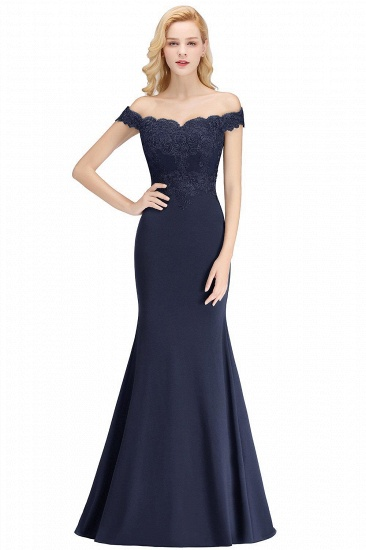 BMbridal Mermaid Off-the-shoulder Long Appliques Satin Bridesmaid Dress_5