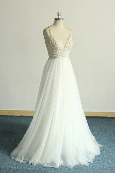 BMbridal Gorgeous A-line White Lace Tulle Wedding Dress Sleeveless Appliques Bridal Gowns On Sale_4