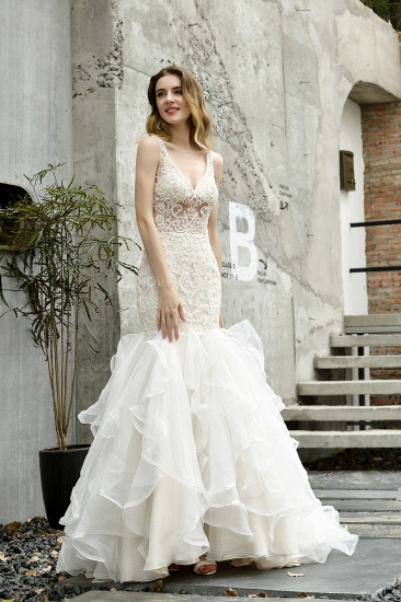 Elegant Mermaid Tulle Lace White Wedding Dresses with Appliques_6