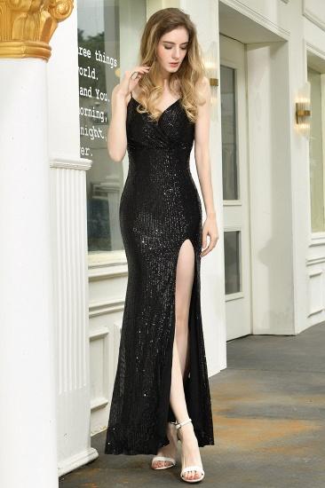 BMbridal Sparkly Black Sequins Spaghetti Straps V-Neck Affordable Prom Dress_5
