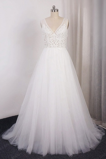 BMbridal Glamorous V-neck Straps Sleeveless Wedding Dress Appliques Tulle A-line Bridal Gowns On Sale_1