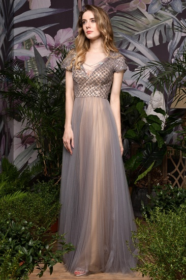 Glamorous Short Sleeve Tulle Prom Dress Long Evening Party Gowns Online_6