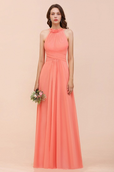 BMbridal Modest Halter Ruffle Coral Chiffon Affordable Bridesmaid Dress Online_2