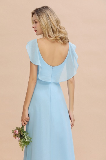 Modest Hi-Lo V-Neck Ruffle Long Bridesmaid Dress with Slit_58