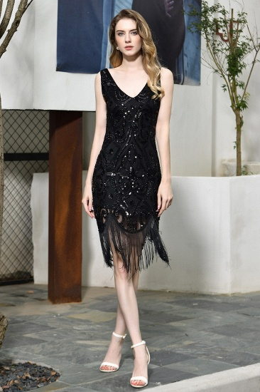 Sexy Black Sequins Prom Dress Sleeveless Evening Gown With Tassels