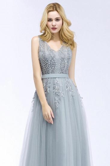 BMbridal Stylish V-neck Tulle Lace Long Evening Dress_6