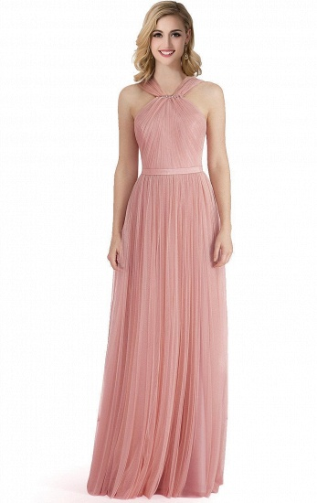 BMbridal Sheath Pink Tulle Ribbon Sash Simple Bridesmaid Dress_1