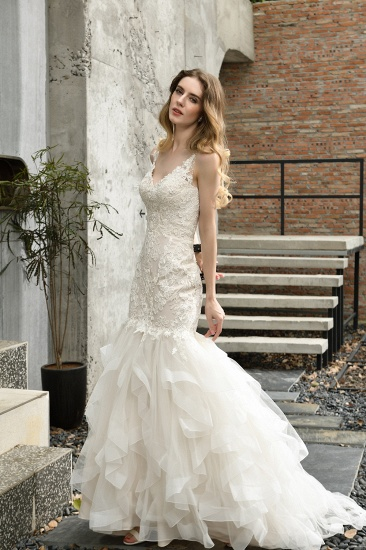 BMbridal Gorgeous Mermaid Tulle Appliques Ivory Wedding Dress_4