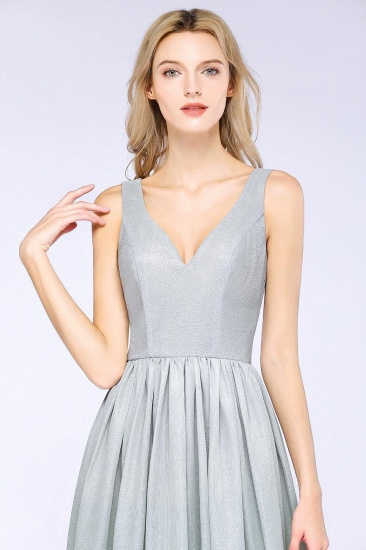 BMbridal A-line Ruffles V-Neck Long Evening Dress_4