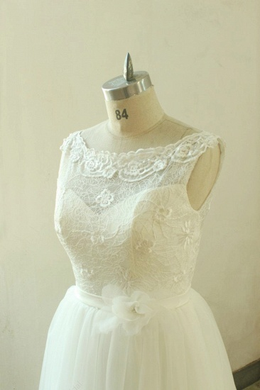 Gorgeous A-line White Lace Tulle Wedding Dress Sleeveless Appliques Bridal Gowns On Sale_4