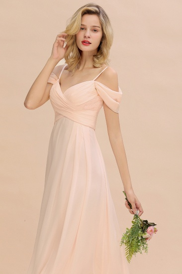 Off-the-Shoulder Sweetheart Ruched Long Bridesmaid Dress Online_9
