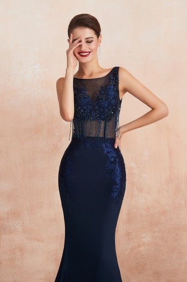 BMbridal Gorgeous Navy Mermaid Prom Dress With Appliques Tassels Online_9