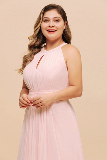 BMbridal Affordable Plus Size Chiffon Round Neck Pink Bridesmaid Dress_7