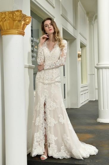 Exquisite Sheath V-Neck Long Sleeves Wedding Dress With Slit_10