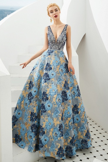 BMbridal Glamorous V-Neck Sleeveless Print Prom Dress Long Beadings Evening Gowns_5