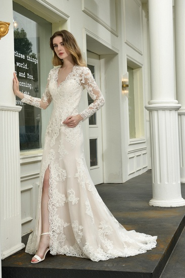 Exquisite Sheath V-Neck Long Sleeves Wedding Dress With Slit_7