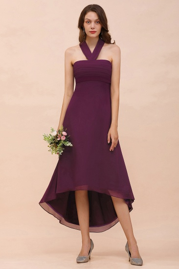 Stylish Hi-Lo Halter Grape Chiffon Affordable Bridesmaid Dresses with Ruffle_1