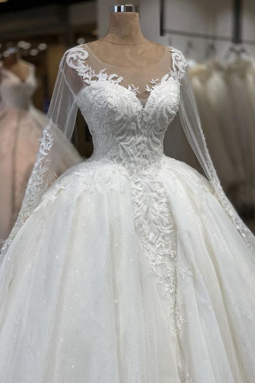 Gorgeous Jewel Longsleeves Lace Wedding Dresses A-line Tulle Ruffles Bridal Gowns With Appliques Online_5