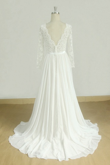 Glamorous A-line White Chiffon Wedding Dress Longsleeves Jewel Bridal Gowns On Sale_3