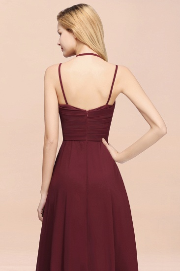 BMbridal Affordable Chiffon Burgundy Bridesmaid Dress With Spaghetti Straps_53