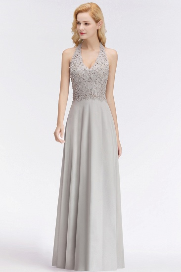 BMbridal A-line Halter Chiffon Lace Bridesmaid Dress with Beadings_5