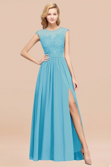 Affordable Scoop Lace Appliques Yellow Bridesmaid Dresses with Slit_24