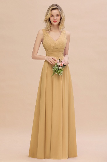 BMbridal Elegant V-Neck Dusty Rose Chiffon Bridesmaid Dress with Ruffle_13