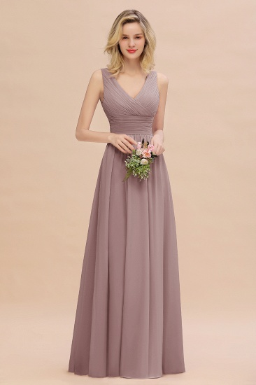 Elegant V-Neck Dusty Rose Chiffon Bridesmaid Dress with Ruffle_37