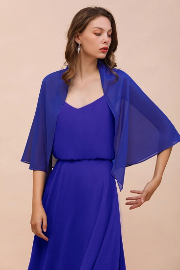 Royal Blue Chiffon Special Occasions Wraps_6