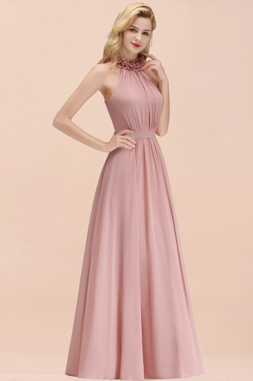 Modest High-Neck Halter Ruffle Chiffon Bridesmaid Dresses Affordable_55