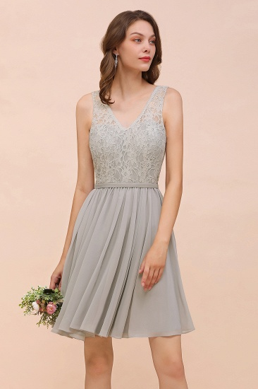 Affordable Lace V-Neck Silver Chiffon Short Bridesmaid Dress Online_8