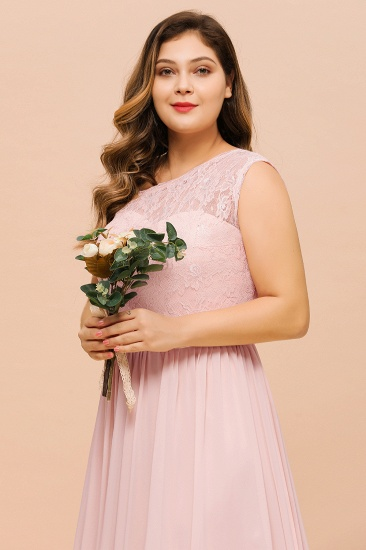 Chic One-Shoulder Pink Lace Bridesmaid Dresses with Slit_9