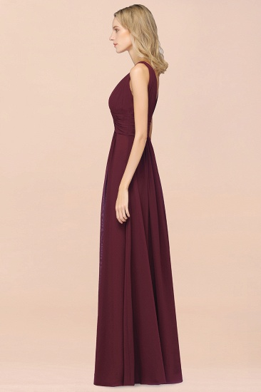 BMbridal Elegant V-Neck Burgundy Chiffon Affordable Bridesmaid Dress with Ruffle_56