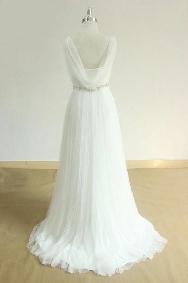 Elegant Straps Tulle White Wedding Dress A-line Ruffles Sleeveless Bridal Gowns On Sale_3