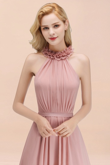 Modest High-Neck Halter Ruffle Chiffon Bridesmaid Dresses Affordable_56