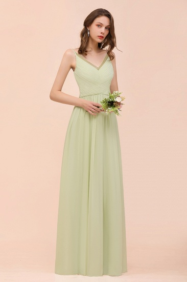 BMbridal Popular V-Neck Sage Chiffon Affordable Bridesmaid Dress with Low Back_4