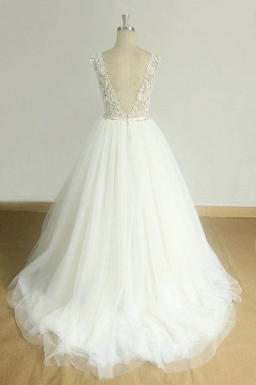 BMbridal Chic V-neck Straps Tulle Wedding Dresses A-line Appliques Sleeveless Bridal Gowns On Sale_3