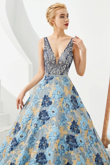 BMbridal Glamorous V-Neck Sleeveless Print Prom Dress Long Beadings Evening Gowns_8
