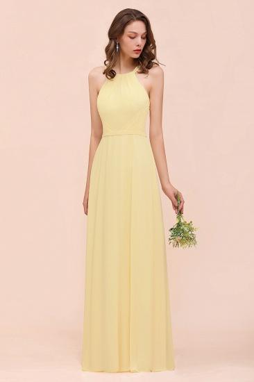 Affordable Daffodil Chiffon Sleeveless Long Bridesmaid Dress with Ruffle_7