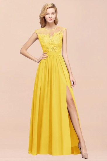 Cheap Scoop Lace Appliques Yellow Bridesmaid Dresses with Slit_51