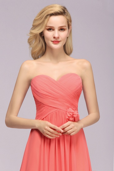Affordable Sweetheart Strapless Chiffon Bridesmaid Dress with Flower_8