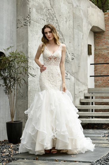 Sexy Mermaid Tulle Lace Sleeveless Wedding Dress
