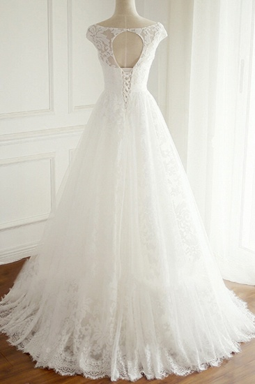 BMbridal Gorgeous Lace V-neck Appliques Wedding Dress White Tulle A-line Bridal Gowns On Sale_3