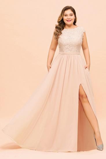 Elegant Jewel Chiffon Lace Affordable Bridesmaid Dresses with Slit_4