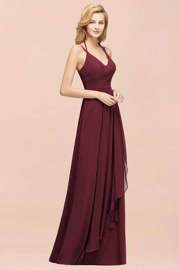 BMbridal Affordable Chiffon Burgundy Bridesmaid Dress With Spaghetti Straps_56