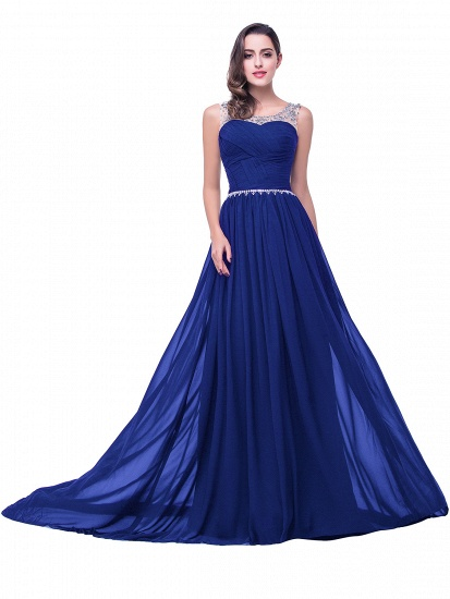 BMbridal A-line Court Train Chiffon Party Dress With Beading_4