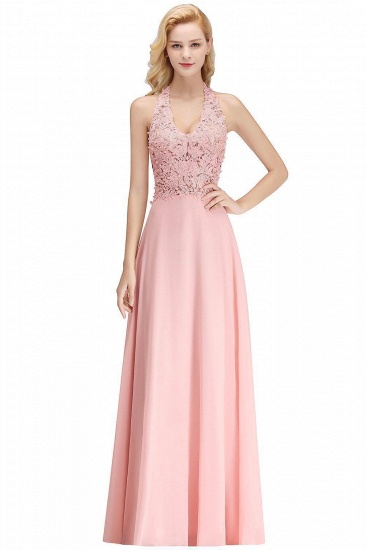 BMbridal A-line Halter Chiffon Lace Bridesmaid Dress with Beadings_1