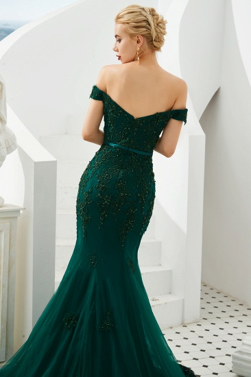 BMbridal Off-the-Shoulder Green Prom Dress Long Mermaid Evening Gowns With Lace Appliques_7