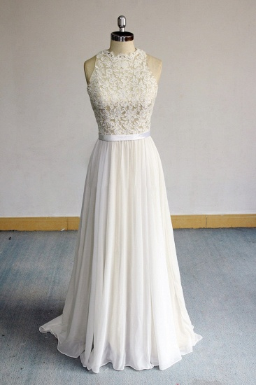 BMbridal Glamorous White Appliques Chiffon Wedding Dress Sleeveless Ruffles A-line Bridal Gowns On Sale_1