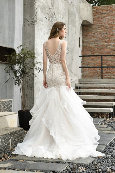 Elegant Mermaid Tulle Lace White Wedding Dresses with Appliques_3